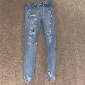 Distressed super high waisted jeans